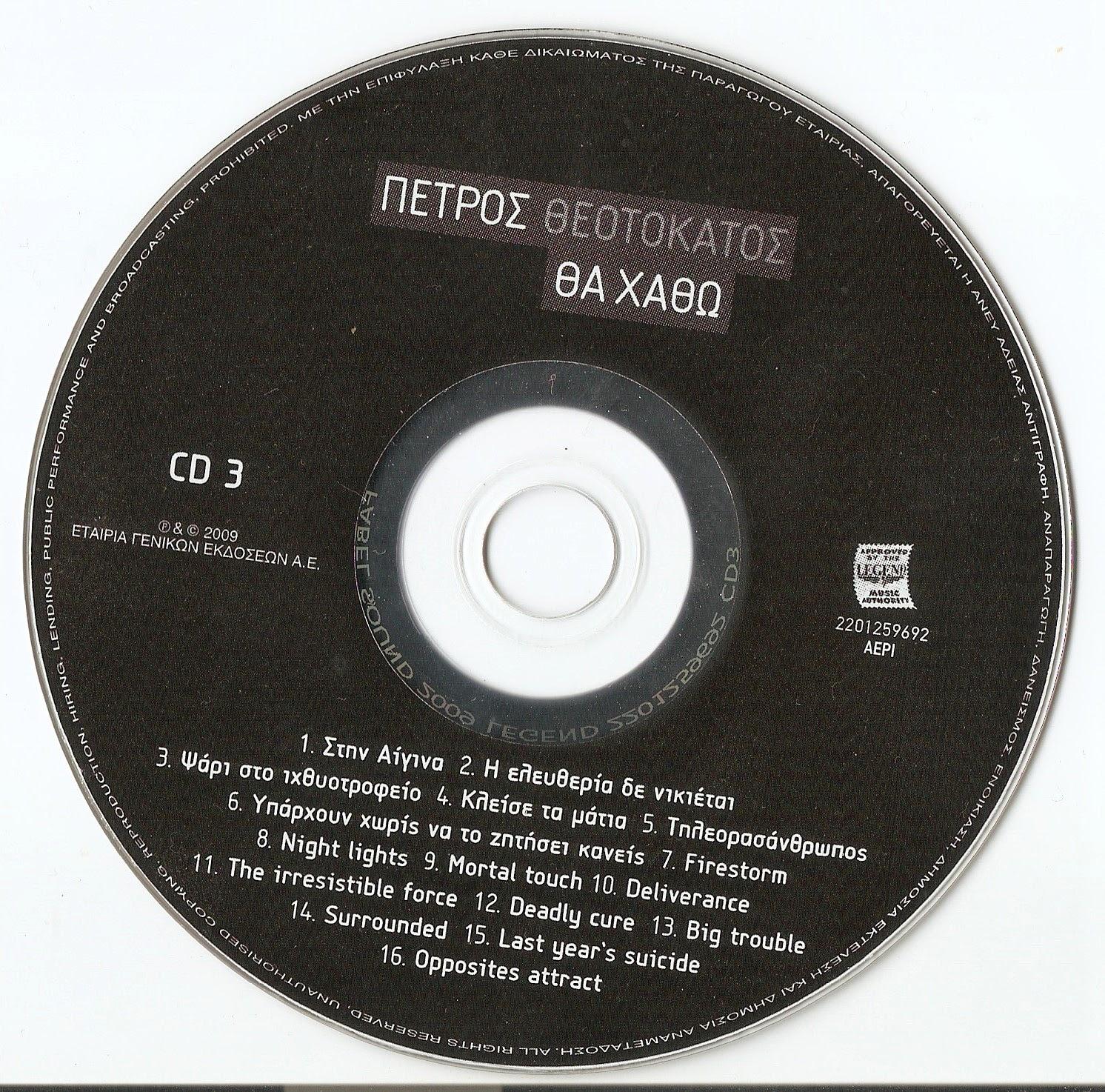 ΠΕΤΡΟΣ ΘΕΟΤΟΚΑΤΟΣ - ΘΑ ΧΑΘΩ cd greek rock 3