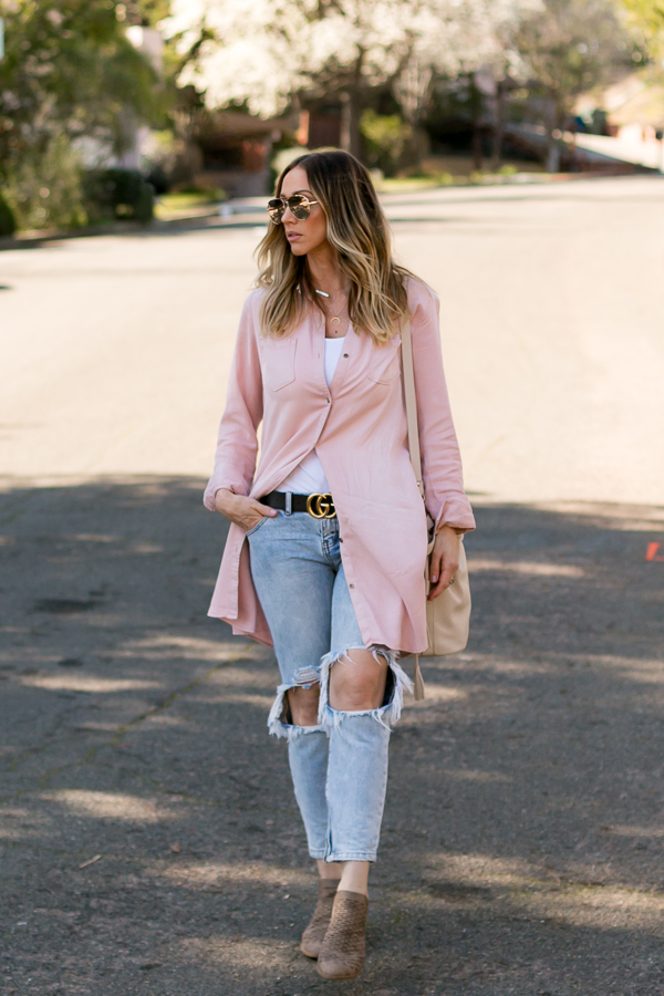 blush pink tunic dress ripped jeans parlor girl