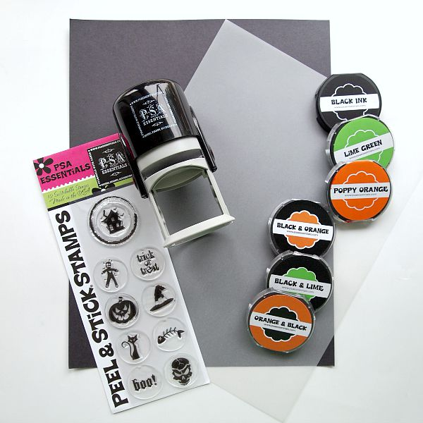 Supplies needed to create Halloween Treat Bag Tags with @PSAEssentials stamps
