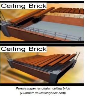 Pemasangan rangkaian ceiling brick