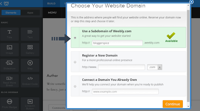 sub-domain on weebly