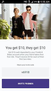 Freebird rides app promo code V6918