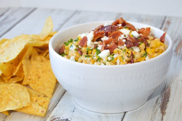 Mexican Street Corn Dip in a white bowl with chips