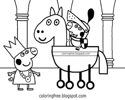 Medieval knight on horse cartoon printable easy Peppa pig princess coloring pages for kids to color