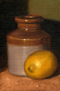 Oil painting of a lemon beside and earthenware jar.