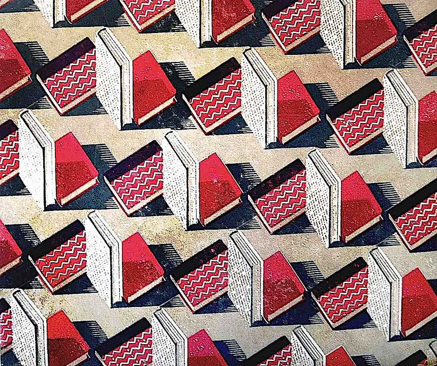 endpapers of a 1931 book, zigzag