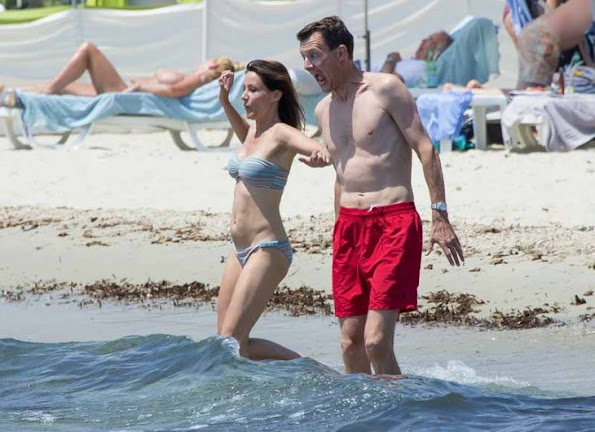 A holiday photo of Prince Joachim of Denmark and his wife Princess Marie taken in Saint-Tropez in south of France,
