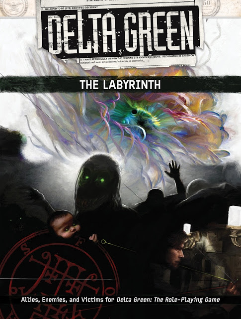 The cover of Delta Green: The Labyrinth with a large, colorful mass in the background, and in the foreground, various people and esoteric figures like a baby head with glowing eyes and an arcane symbol.