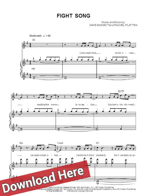 rachel platten, fight song, sheet music, piano notes, score, chords, download, print, keyboard, guitar, tabs, klavier noten
