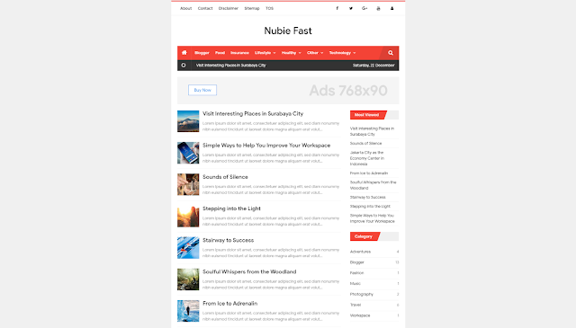 Nubie Fast 2 Responsive Blogger Template