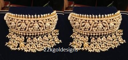 pearl jadau choker necklace design.