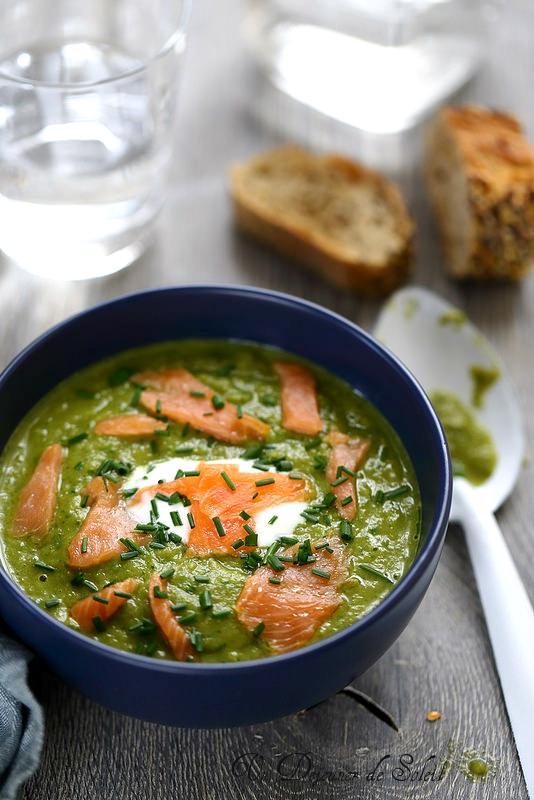 Soupe de haricots verts et saumon fumé