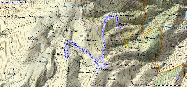 Mapa de la ruta al Mosqueiro y Cornomandil