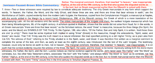 Jamieson-Fausset-Brown Bible Commentary. 1 John 5:7. The GREATEST Trinitarian FORGERY In History.