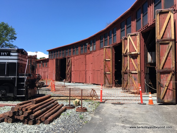 exterior of roundhouse at Railtown 1897 State Historic Park in Jamestown, California