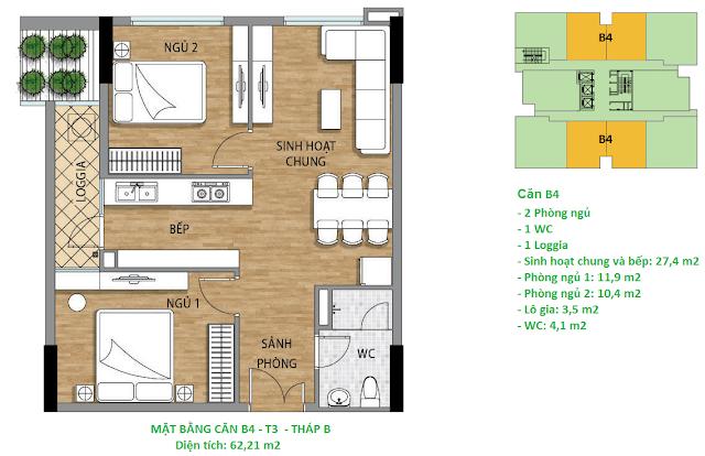 Căn hộ B4 diện tích 62,21 m2 tầng 3 Valencia Garden