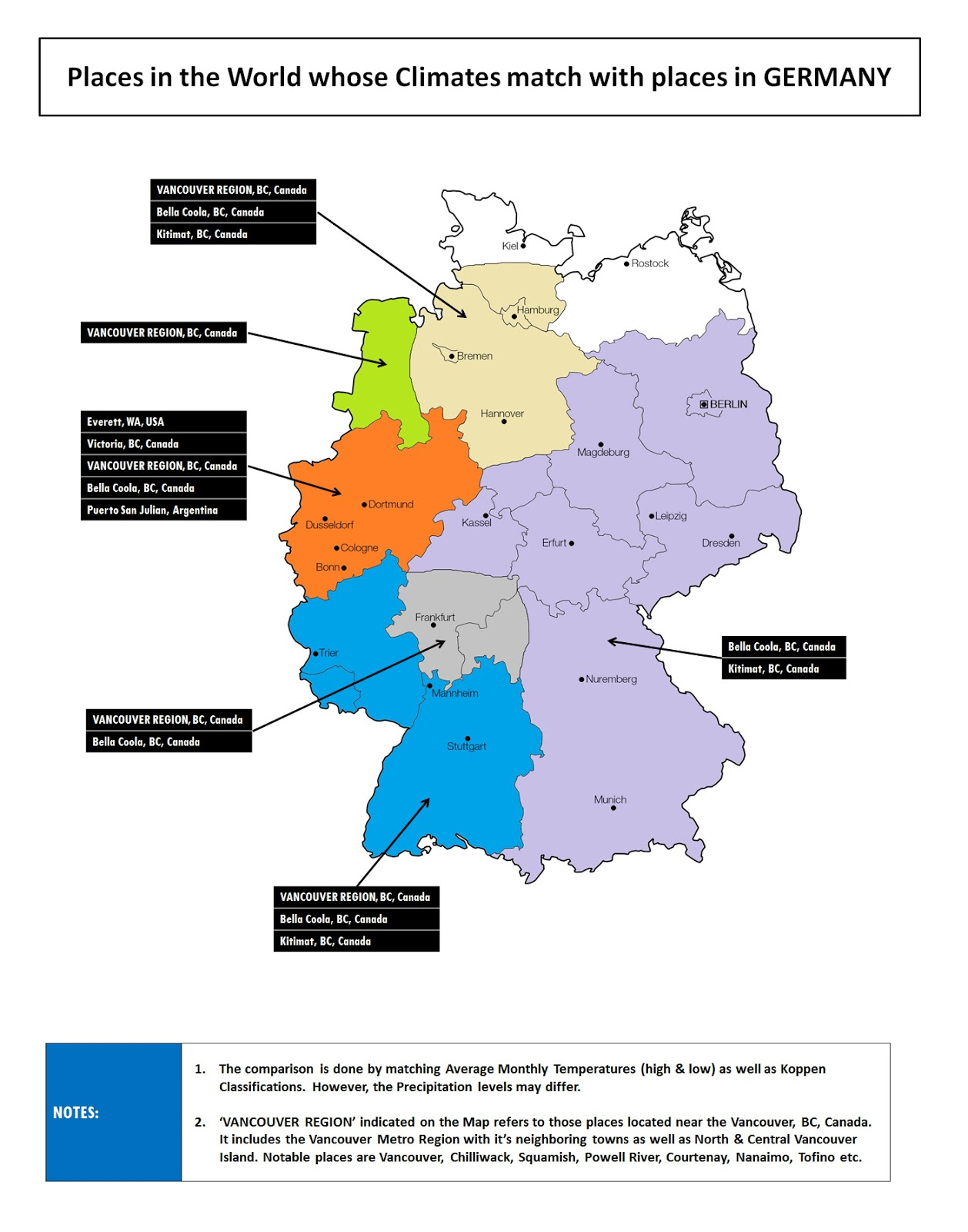 Places in the World whose climates match with places in Germany