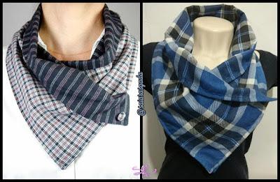cachecol feminino gola feminina mulher inverno lindo quente fofo elegante trico tricot croche lã barbante tecido xadrez azul botão lenço