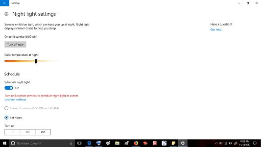 nigh light mode windows 10 creator update