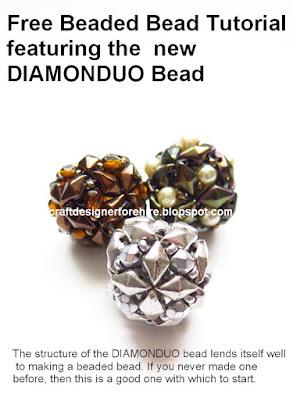 Two-hole DiamonDuo Beaded Bead --Free Beaded Bead Tutorial featuring the new DiamonDuo Bead