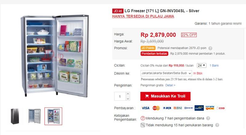LG Freezer [171 L] GN-INV304SL - JD.ID