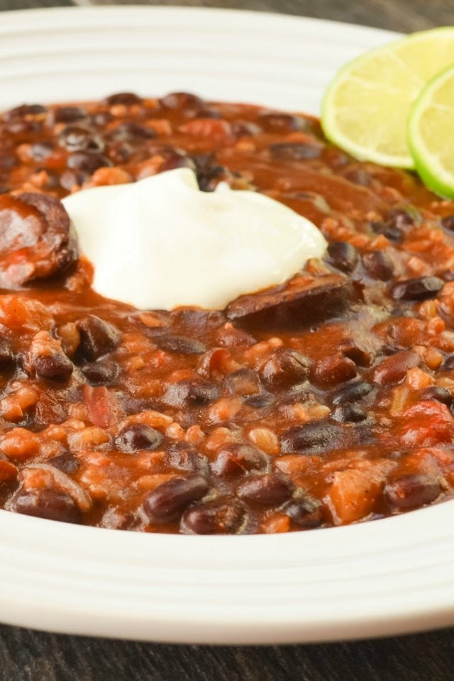 Crock Pot Sausage Black Beans and Rice is a easy, healthy dinner recipe from Serena Bakes Simply From Scratch.