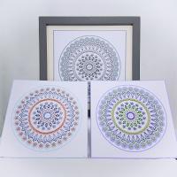 Set of three scalloped mandala circle stitching on card embroidery paper pricking pattern.