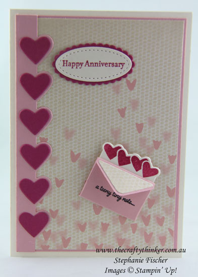 Anniversary Card, Sealed With Love, #thecraftythinker, Stampin Up Australia Demonstrator, Stephanie Fischer, Sydney NSW