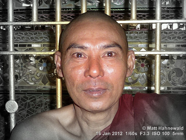 Burma, Myanmar, Yangon, Burmese man, Burmese monk, Buddhist monk, people, portrait, headshot, focal black and white