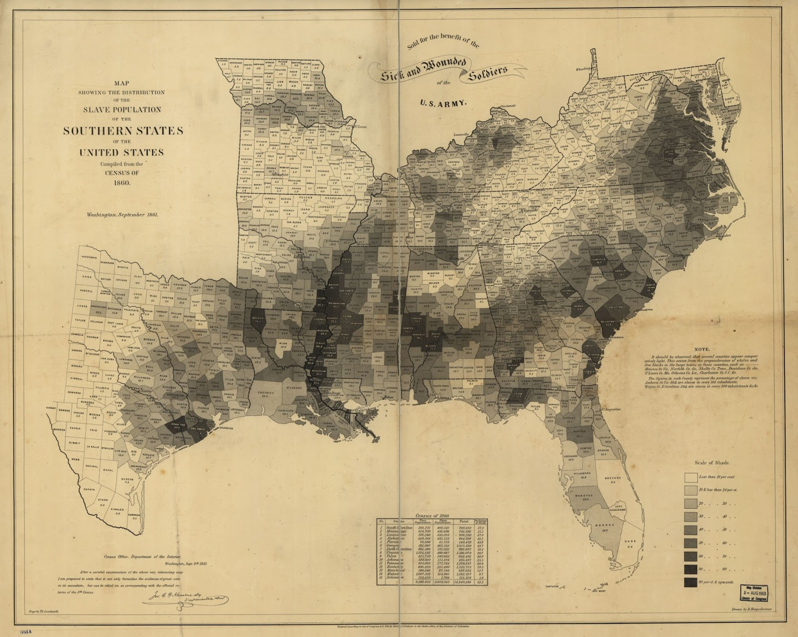 map showing the distribution of the slave population in the southern states 1860