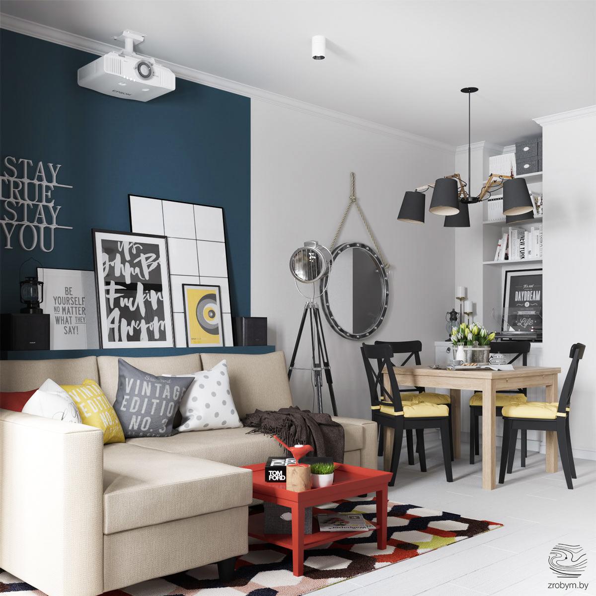 Proiect de amenajare vesel, proaspăt și tineresc pentru un apartament din Minsk, Belarus