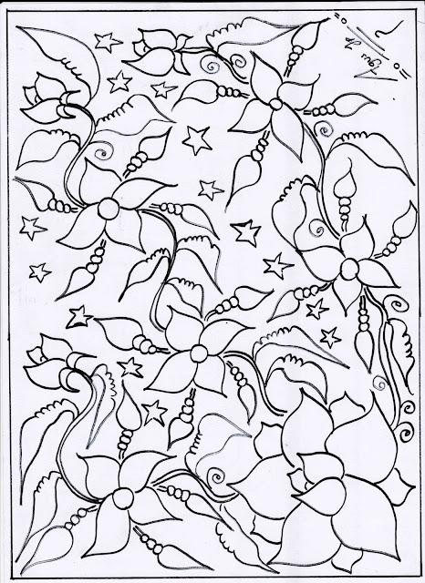 17. Gambar Batik Motif Bunga Cantik