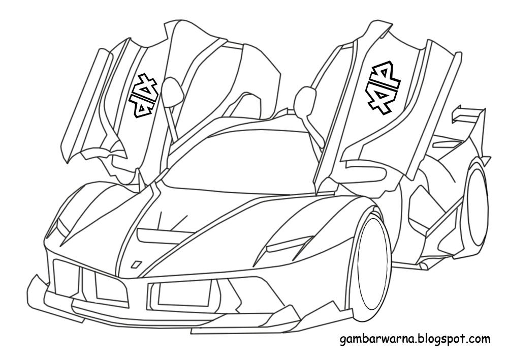 Mewarnai Mobil Sport Ferrari  Belajar Mewarnai Gambar