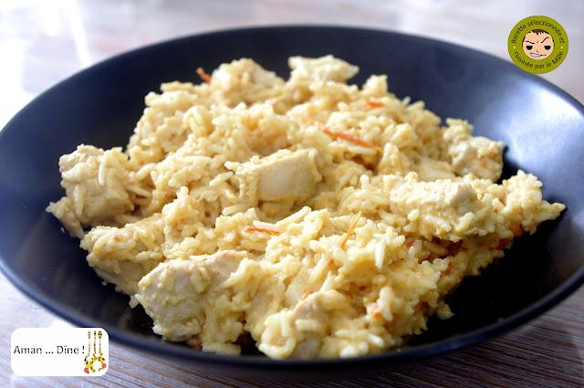Poulet balti au lait de coco, riz à la cardamome
