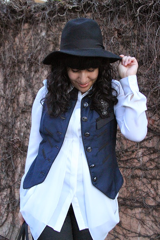Victorian Inspired Vest and White Button Down Blouse