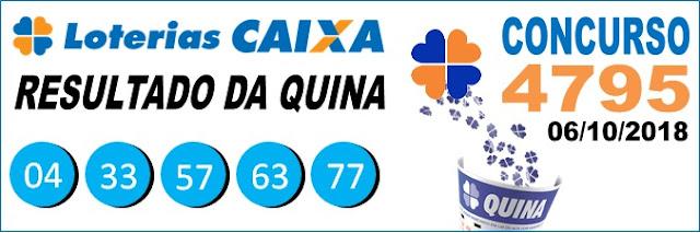 Resultado da Quina concurso 4795 de 06/10/2018 (Imagem: Informe Notícias)