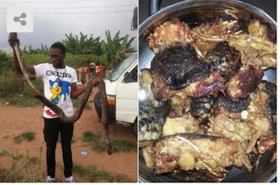 Man Catches Huge Snake, Butchers It For Pepper Soup In Delta State. Photos