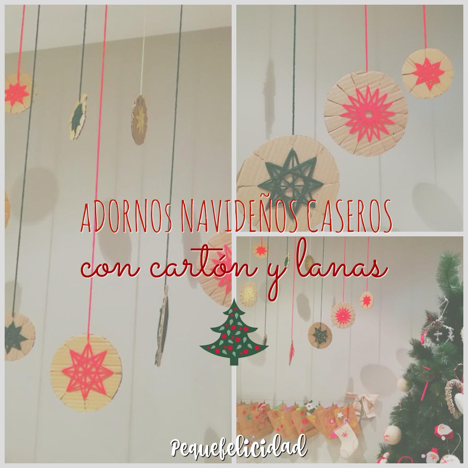 PEQUEfelicidad ADORNOS NAVIDEOS DIY CON CARTN Y LANA