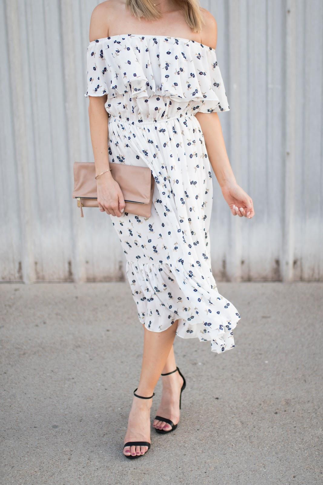 Off-the-shoulder midi dress