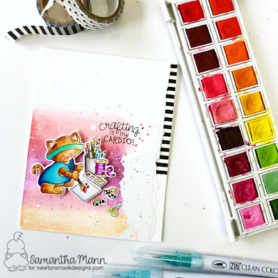 Crafting is my Cardio Card by Samantha Mann for Newton's Nook Designs, watercolor, mixed media, Cards, handmade cards, #newtonsnook #watercolor #mixedmedia #justbecausecard #cards