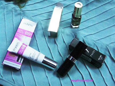 Ponds BB cream, Loreal nail paint, Faces lipstick