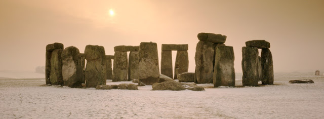Winter Scene Stonehenge in Snow