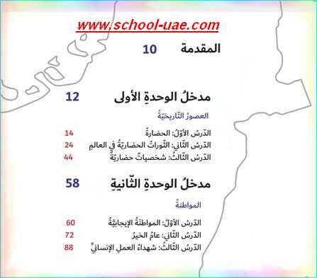 فهرس كتاب الاجتماعيات للصف السادس الفصل الاول2020 - مدرسة الامارات