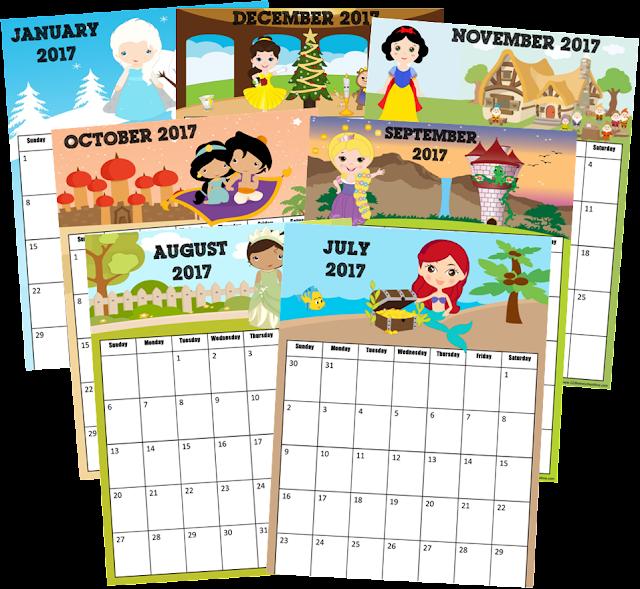 Free Disney Princess 2017 Calendar