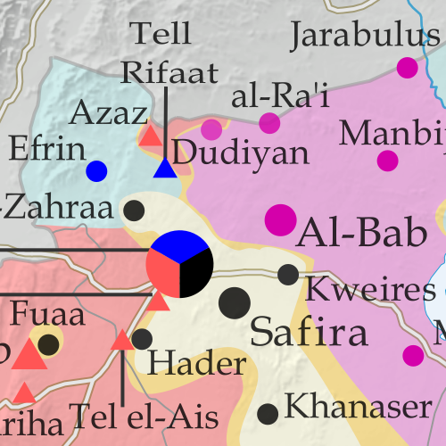 Map of fighting and territorial control in Syria's Civil War (Free Syrian Army rebels, Kurdish YPG, Syrian Democratic Forces (SDF), Al-Nusra Front, Islamic State (ISIS/ISIL), and others), updated for March 2016. Now includes terrain and major roads (highways). Highlights recent locations of conflict and territorial control changes, such as Daraa, Khanaser, Tell Rifaat, Shadadi, the Aleppo Power Plant, and more.