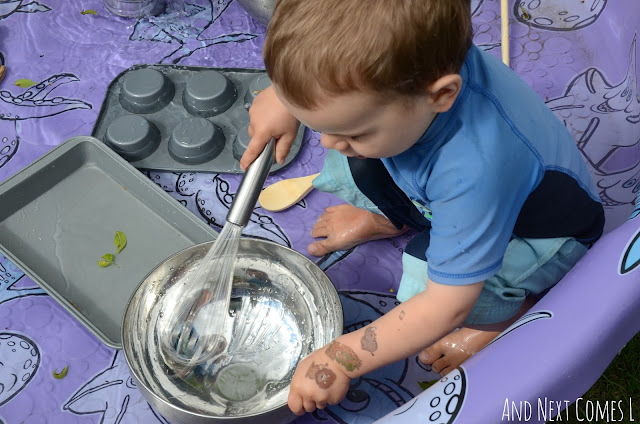 Child experimenting with sounds as part of a musical science pool experiment