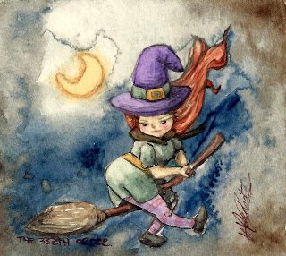 The very small / tiny dark side artwork: The Witch On Her Broom watercolour by Elizabeth Casua, tHE 33ZTH oRDER (framed)