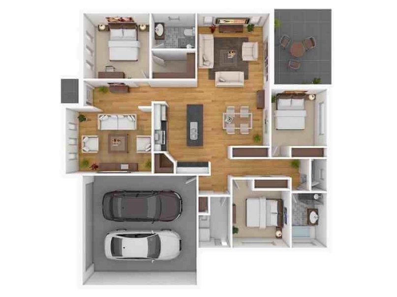 denah rumah 8x12 1 lantai kamar 3 menarik