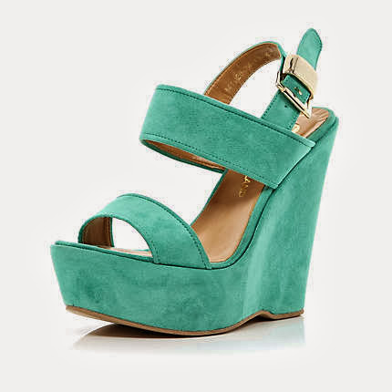 River Island Turquoise Wedge Sandals