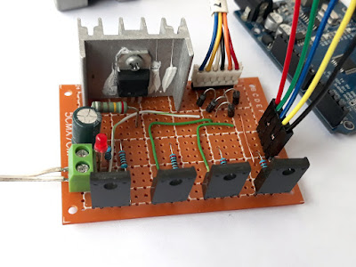 Unipolar stepper driver built on perfboard
